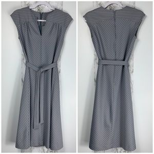 VINTAGE GREY PINSTRIPE A LINE DRESS